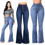 Sexy High Waist Jeans Women Single Breasted Loose Plus Size Casual Denim Flare Pants European and American Ladies Fashion Style - thefashionique
