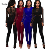 Sexy Long Sleeve Lace Hollow Out Patchwork Jumpsuit Women Black Red Blue High Waist Zipper Backless Skinny Bodysuit Nightclub - thefashionique