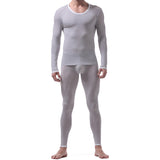 Sexy Male Long Johns Men's Translucent Sleepwear Ice Silk Lounge Tight Thermal Undershirt Trousers Set - thefashionique