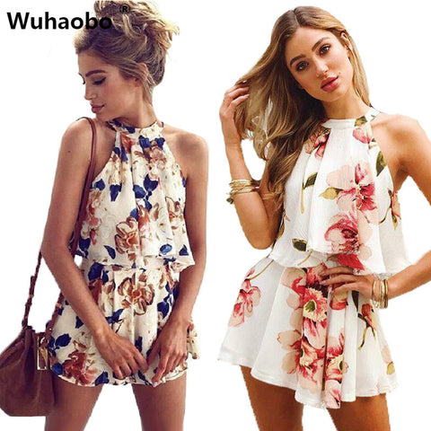 Sexy Off Shoulder Floral Print Summer Playsuit Women 2018 Halter Sleeveless Ruffles Wide Leg Short Jumpsuit Beachwear Overalls