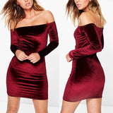 Sexy Off Shoulder Wine Red Sheath Velvet Dress Women Winter Party Long Sleeve 2018 Elegant Pencil Bodycon Ladies Dress Vestidos - thefashionique