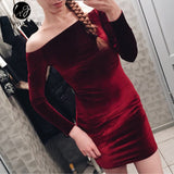 Sexy Off Shoulder Wine Red Velvet Winter Party Dress Women  Long Sleeve 2018 Elegant Pencil Bodycon Feminino Dress Vestidos - thefashionique