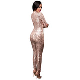 Sexy Sequined Jumpsuits Stand-Collar Long Sleeve Back Zipper Tight Fit Spangle Lace See Through Jumpsuits Macacao Feminino S2772 - thefashionique