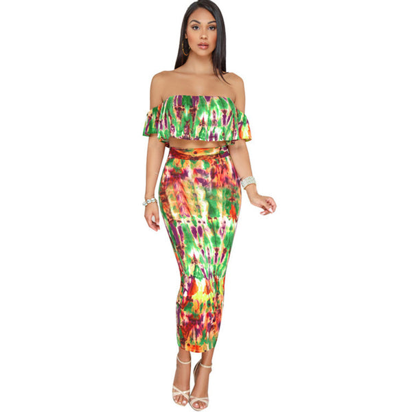 Sexy Tie Dye Two Piece Dress Women Ruffle Off Shoulder Crop Top and Bodycon Skirt Set Party Clubwear Summer Outfits for Ladies - thefashionique