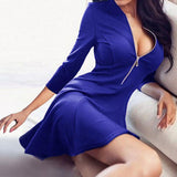 Sexy V-Neck zippers A-Line dress vestidos 2018 New  Fashion Women red blue 3/4 Sleeve Party Mini dresses Plus size - thefashionique
