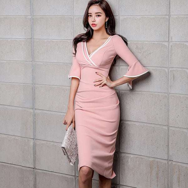 Sexy V-neck Flare Sleeve Pencil Dress Women 2019 Spring Sheath Bodycon V-neck Dresses Work Wear Business OL Vestidos - thefashionique