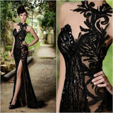Sexy Vintage Lace Evening Prom Gowns Sexy Black Sweetheart Neckline Beaded Floor Length Formal Wedding Party Dress - thefashionique