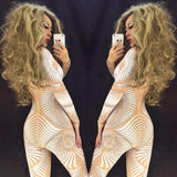 Sexy White Nude 3D Pattern Jumpsuit Sexy Nightclub Bar Wear AB Rhinestones Jumpsuit Costume Prom Birthday Celebrate Outfit - thefashionique