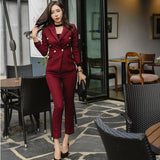 Sexy Wine Red Slim Style Women Pant Suits Slim Waist Buttons Blazer Jacket & Pencil Pant OL Style Women Set 2019 Spring - thefashionique