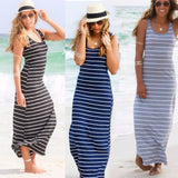 Sexy Women Summer Boho Long Maxi Dress Beach Sleeveless Tank Dresses Plus SIZE Striped Cotton Femme VestidosS M L XL XXL - thefashionique