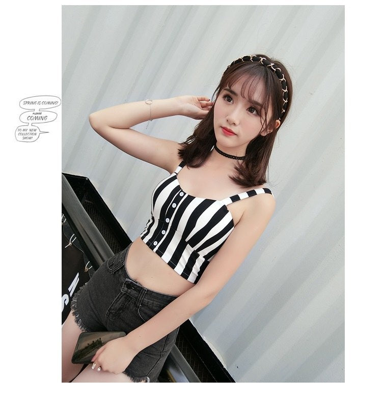 Sexy Womne's Stripe Crop Top Camisole Dill Tank Top Female Cropped Feminino Tops Women Short  Vest plus size S-3XL 32s - thefashionique