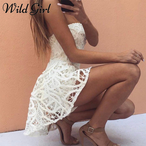 Sexy off shoulder strapless jumpsuit romper Women elegant white lace jumpsuit playsuit Summer backless club jumpsuit romper 2018