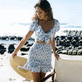 Sexy v neck beach summer dress women 2020 boho floral print short dress bowknot bodycon ruffle blure dress lace up mini dress - thefashionique