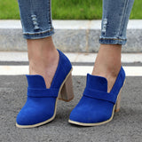 Shallow Women Ankle Pumps NEW Sexy Square High Heels Faux Suede Platform Shoes Women For Size 35-43 Q648 - thefashionique