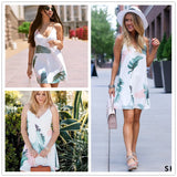 Sheinside White Beach Cami Summer Dress Women Palm Leaf Print Double V Neck Casual Shift Dresses Sexy Sleeveless Vacation Dress - thefashionique