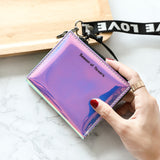 Shining Paint Leather Short Wallet Women Holographic Purse Metallic Color Lanyard Hologram Clutch Female Fashion Luxury Purses - thefashionique