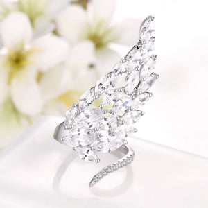 Shiny Full Crystal Angel wings Cute finger rings for women Luxurious brand AAA CZ Engagement Wedding ring Party jewelry Bijoux - thefashionique