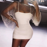 Shiny Rhinestones Diamonds Fishnet Sexy Women Beach Dress Sleeveless Mesh Hollow Out Transparent Bodycon Dresses Party Clubwear - thefashionique