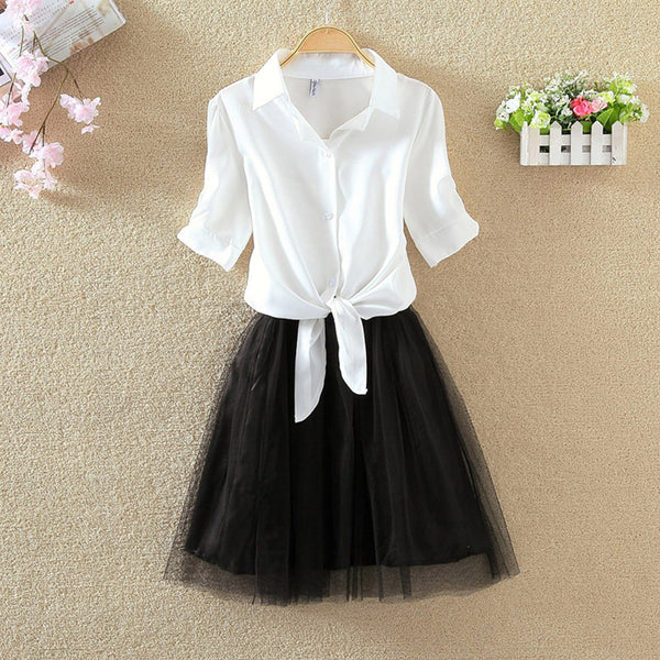 Shirt And Sling Tutu Dress Suit Women 2018 Summer Cute 2 Piece Dress Blue Pink Shirt And White Veil Dresses Plus Size 3XL 4XL - thefashionique