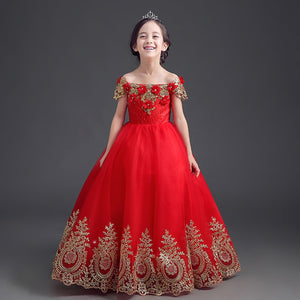 Shoulderless Cute Princess Dresses Red Girls Wedding Dresses Summer 2017 New Ankle-length Embroidery Children's Clothes P03 - thefashionique