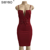 Sibybo New Summer Bandage Bodycon Dress 2018 Deep V Neck Lace Up Midi Halter Sexy Sleeveless Club Party Dresses Vestidos - thefashionique