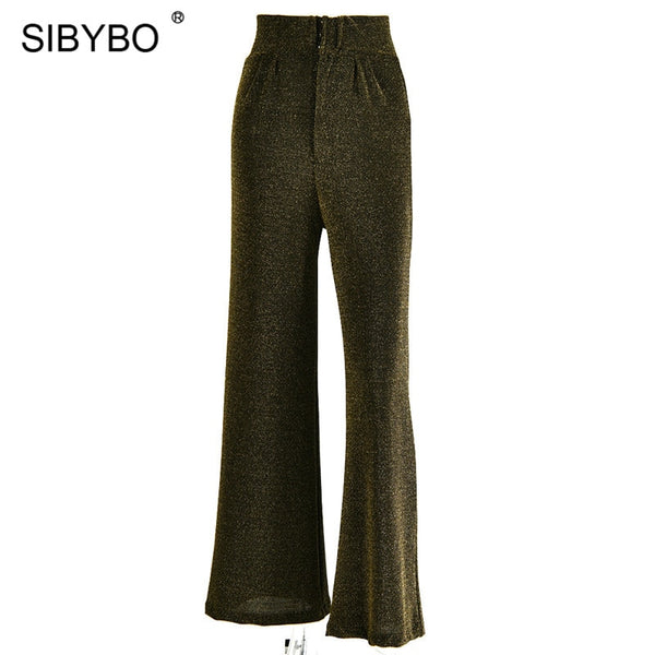 Sibybo Sparkly High Waist Casual Women Pants Spring Wide Leg Loose Trousers Women Streetwear Harem Pants Ladies - thefashionique