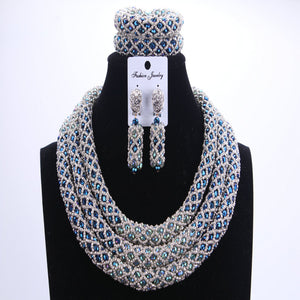 Silver Blue Dudo African Beads Jewelry Sets 2017 Bridal Jewelry Sets & More Nigerian Wedding Beads African Necklace For Women - thefashionique