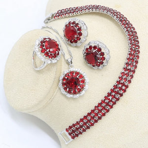 Silver Color Jewelry Set for Women Red Semi-precious Bracelet Stud Earrings Necklace Pendant Ring Gift Box