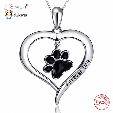 Silver Enamel Cat Dog Paw Necklace Girl Chain 925 Sterling Silver Love Heart Necklaces & Pendants For Women Fashion Jewelry 2018