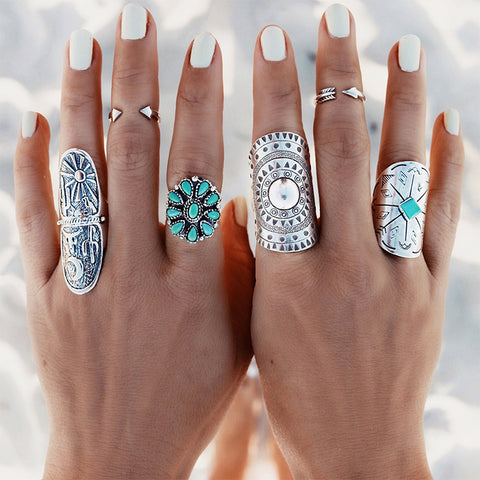 Silver Punk Vintage Ring Women Retro Geometry Oval Midi finger Rings Boho Jewelry #87894 - thefashionique