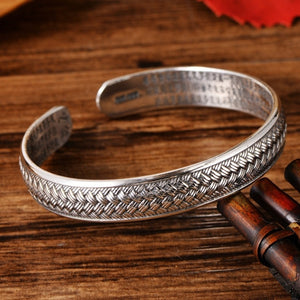 Silver S999 braided rope retro heart sutra couple bracelet opening adjustable silver bracelet products wholesale - thefashionique
