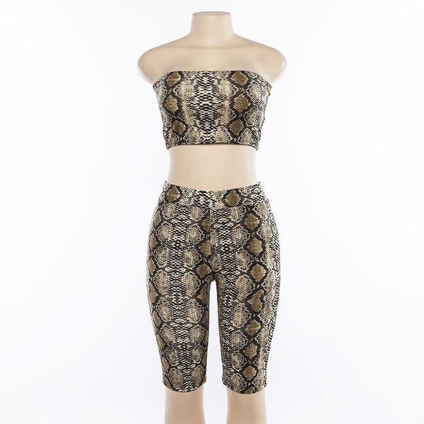 Simenual Sexy snake print two piece set strapless crop top and biker shorts high waist push up tracksuit women sets streetwear - thefashionique