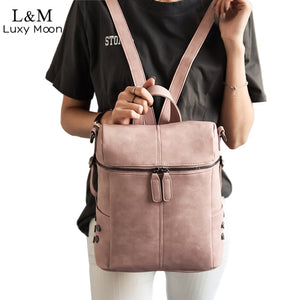 Simple Style Backpack Women PU Leather Backpacks For Teenage Girls School Bags Fashion Vintage Solid Black Shoulder Bag XA568H - thefashionique