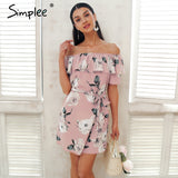 Simplee Ruffle off shoulder summer dress women Sash flower print short dress Casual beach boho dress female vestidos 2018 - thefashionique