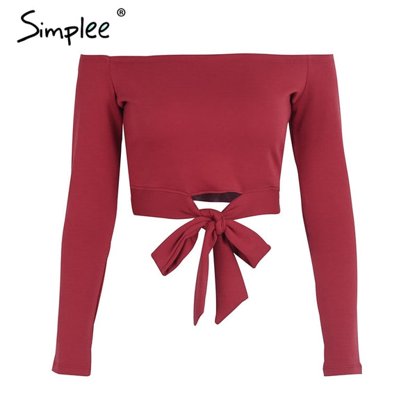 Simplee Sexy off shoulder tie up white crop tops female solid shirt cropped women Casual bow autumn streetwear shirt ladies tops - thefashionique