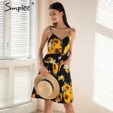 Simplee Strap v neck summer dress women Sunflower print backless casual dress vestidos Smocking high waist midi dress female - thefashionique