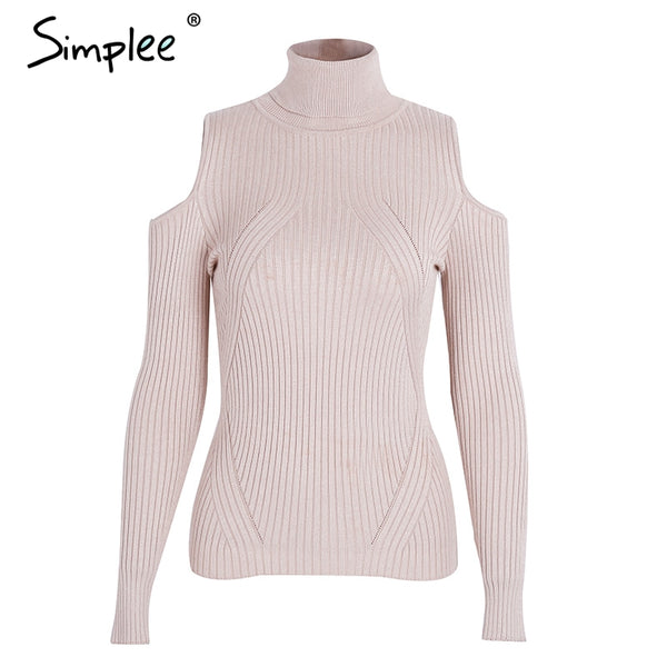 Simplee Turtleneck cold shoulder knitted sweater women Casual cotton streetwear pullover female Sexy autumn winter jumper 2017 - thefashionique