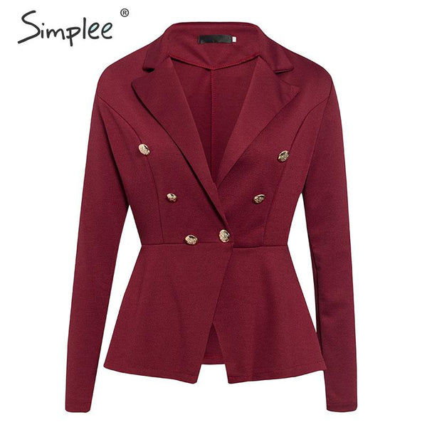 Simplee V-neck women blazer jacket coat Autumn winter long sleeve button office - thefashionique