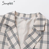 Simplee Vintage plaid women blazer coats Casual buttons pockets autumn winter female