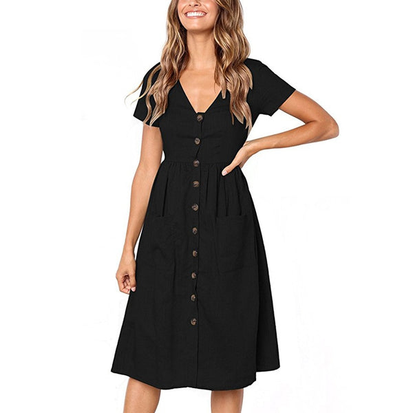 Single-breasted Women Summer Dress Casual V-neck Elastic Waist Short Sleeve Female Dresses Pockets Button A Line Vestidos - thefashionique