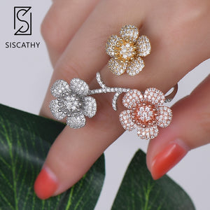 Siscathy Fashion Three Flowers Blosssom Resizable Women Bridal Wedding Ring AAA Cubic Zirconia Inlaid Adjustable Ring Jewelry