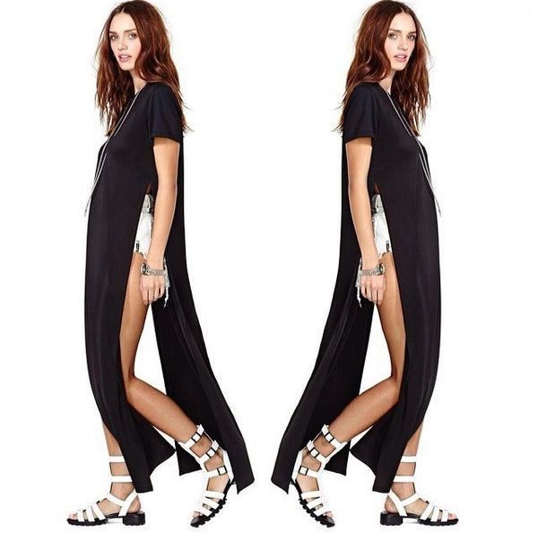 Size S-XL WOMENS high side slit LONG MAXI CASUAL BEACH summer BASIC TEE DRESS - thefashionique