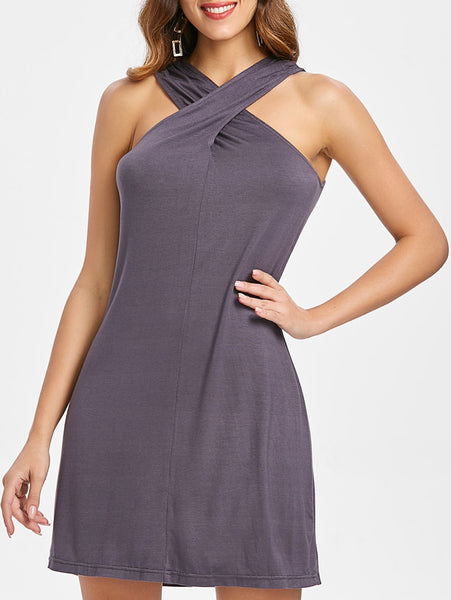 Sleeveless Crossed Neck Sexy Tank Dress - thefashionique