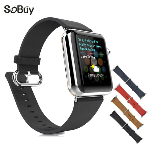 So buy for Apple Watch Wrist band S1 S2 Table chain 38mm classic Genuine Leather Bracelet 42mm strap iwatch 1/2/3 sport series