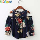 Sodawn Autumn 2017 New Children Clothing Girl Clothes Flowers Printed Ears Strapless Girl Shirt Fashion Long-Sleeved Shirt - thefashionique