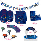 Solar System Outer Space Party Astronaut Rocket Ship Foil Balloons Galaxy/Solar System Party Cake Toppers Boy Birthday Supplies - thefashionique
