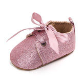 Sparkling Baby Shoes for Girls Party Toddler Baby Moccasins Bow First Walkers Leopard Lace-Up Infant Shoes for Kids Footwear - thefashionique