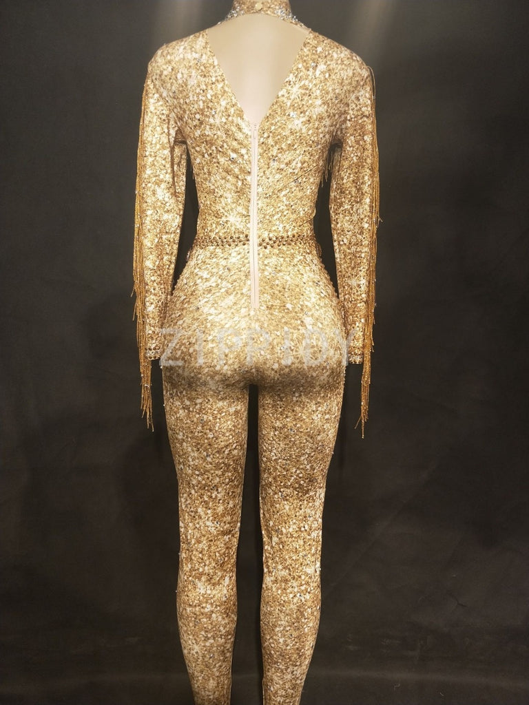 Sparkly Gold Stones Tassel Jumpsuit Rhinestones Sexy Bodysuit Female Singer Evening Stage Wear Women's Birthday Celebrate Outfit - thefashionique