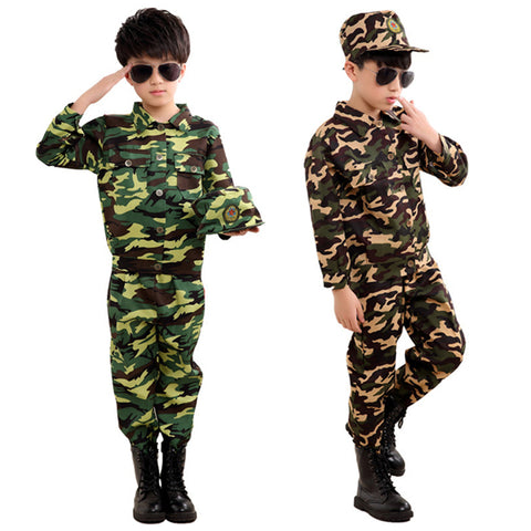 Special Forces Kids Clothing Army Military Scouting Uniform Se Camouflage Coat+Pants+Hat Training Performance Costumes 100-180CM - thefashionique