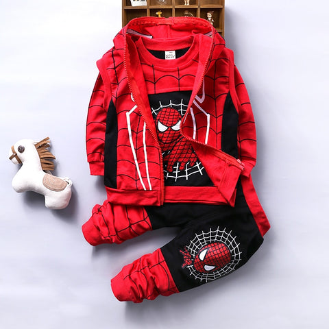 Spider-Man Boys Clothing Sets Cotton Hooded Vest + Long Sleeve T-shirt + Pants 3Pcs Baby Clothes Sets Children's Clothing Dtz458 - thefashionique